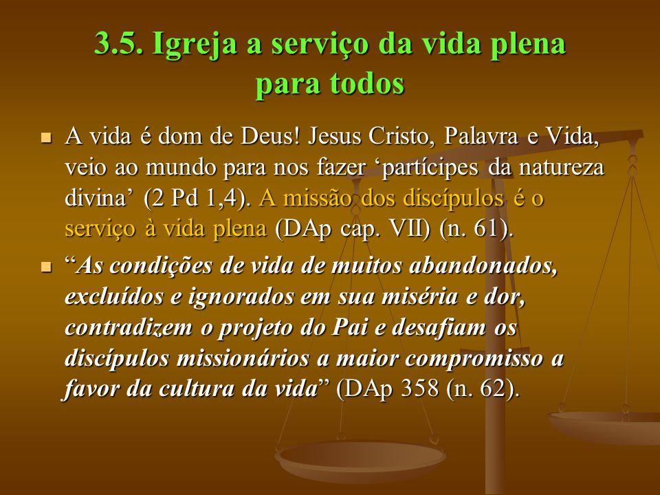 3.5. Igreja a serviço da vida plena para todos  A vida é dom de Deus! Jesus Cristo, Palavra e Vida, veio ao mundo para nos fazer 'partícipes da natur
