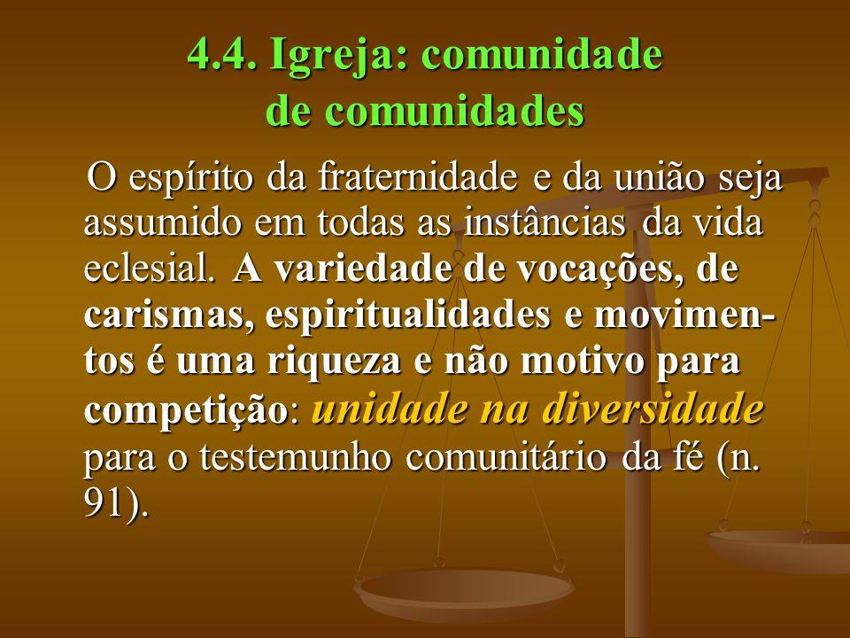 4.4. Igreja: comunidade de comunidades O espírito da fraternidade e da união seja assumido em todas as instâncias da vida eclesial. A variedade de voc