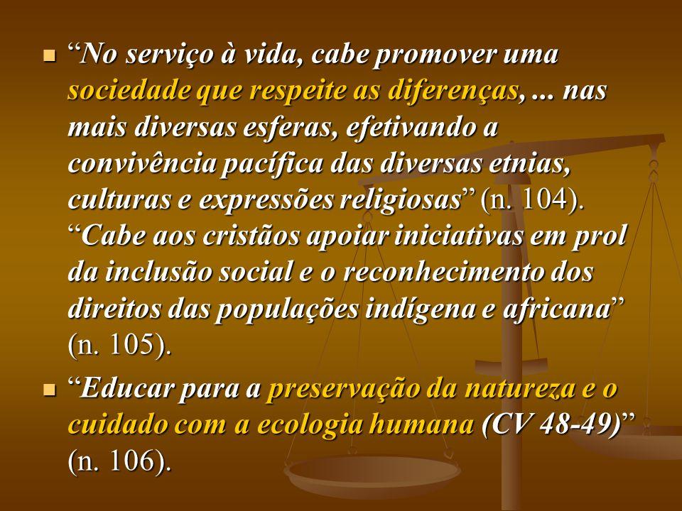 """ """"No serviço à vida, cabe promover uma sociedade que respeite as diferenças,... nas mais diversas esferas, efetivando a convivência pacífica das dive"""