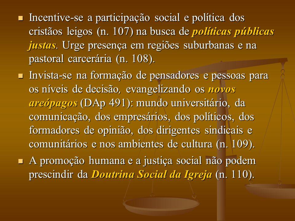  Incentive-se a participação social e política dos cristãos leigos (n. 107) na busca de políticas públicas justas. Urge presença em regiões suburbana