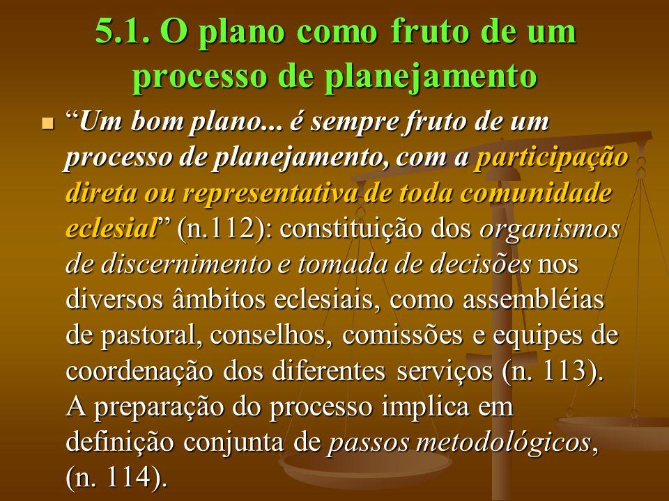 """5.1. O plano como fruto de um processo de planejamento  """"Um bom plano... é sempre fruto de um processo de planejamento, com a participação direta ou"""