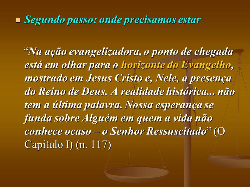 """ Segundo passo: onde precisamos estar """"Na ação evangelizadora, o ponto de chegada está em olhar para o horizonte do Evangelho, mostrado em Jesus Cris"""