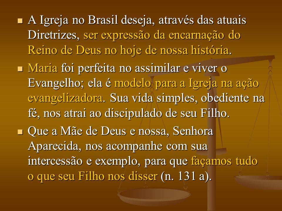  A Igreja no Brasil deseja, através das atuais Diretrizes, ser expressão da encarnação do Reino de Deus no hoje de nossa história.  Maria foi perfei