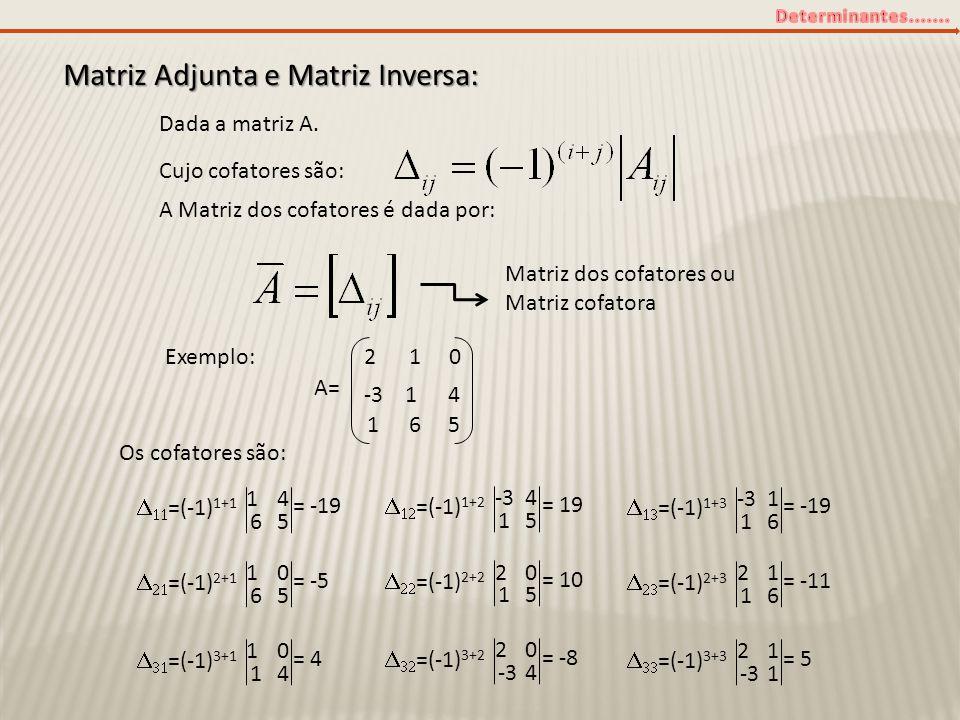Matriz Adjunta e Matriz Inversa: Dada a matriz A. Cujo cofatores são: A Matriz dos cofatores é dada por: Matriz dos cofatores ou Matriz cofatora Exemp