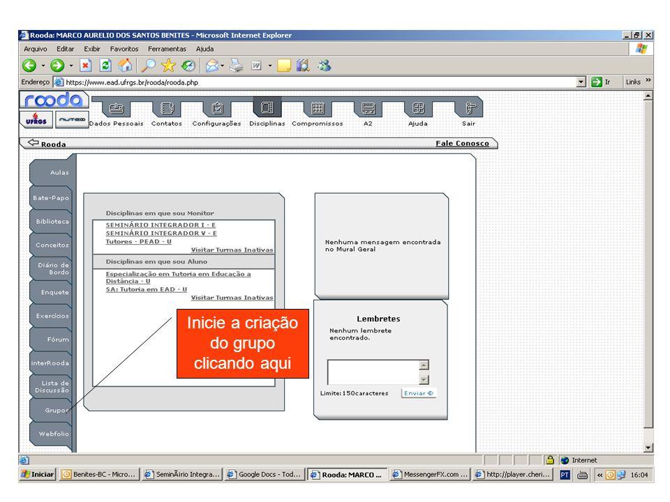 1º Passo: marque turma 2º Passo: Escolha EDUD024 – Seminário Integrador V - E 3º Passo: clique em criar