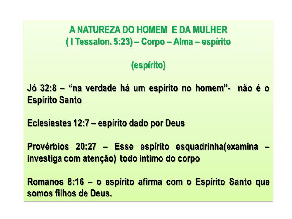 """A NATUREZA DO HOMEM E DA MULHER ( I Tessalon. 5:23) – Corpo – Alma – espírito (espírito) Jó 32:8 – """"na verdade há um espírito no homem""""- não é o Espír"""