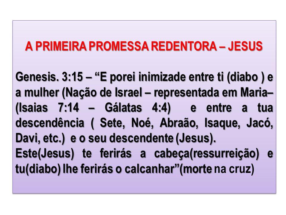"""A PRIMEIRA PROMESSA REDENTORA – JESUS Genesis. 3:15 – """"E porei inimizade entre ti (diabo ) e a mulher (Nação de Israel – representada em Maria– (Isaia"""