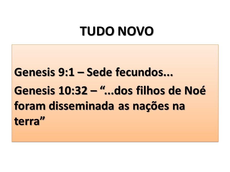 """TUDO NOVO Genesis 9:1 – Sede fecundos... Genesis 10:32 – """"...dos filhos de Noé foram disseminada as nações na terra"""" Genesis 9:1 – Sede fecundos... Ge"""