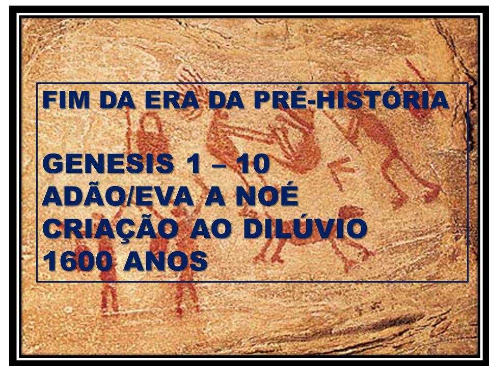 FIM DA ERA DA PRÉ-HISTÓRIA GENESIS 1 – 10 ADÃO/EVA A NOÉ CRIAÇÃO AO DILÚVIO 1600 ANOS