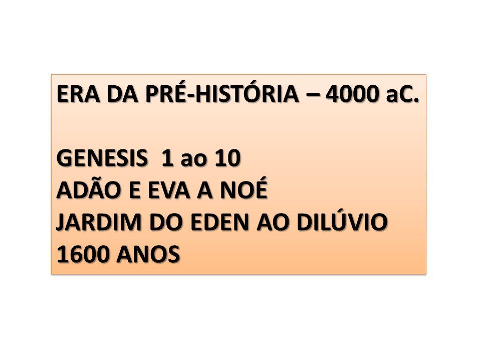 ERA DA PRÉ-HISTÓRIA – 4000 aC. GENESIS 1 ao 10 ADÃO E EVA A NOÉ JARDIM DO EDEN AO DILÚVIO 1600 ANOS ERA DA PRÉ-HISTÓRIA – 4000 aC. GENESIS 1 ao 10 ADÃ