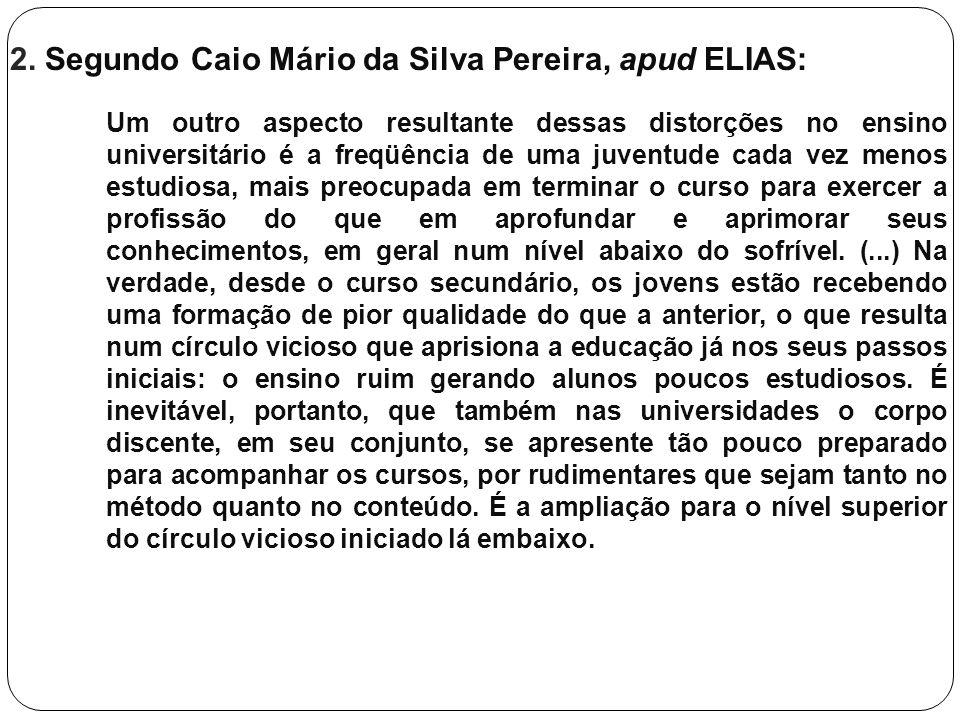 2. Segundo Caio Mário da Silva Pereira, apud ELIAS: Um outro aspecto resultante dessas distorções no ensino universitário é a freqüência de uma juvent