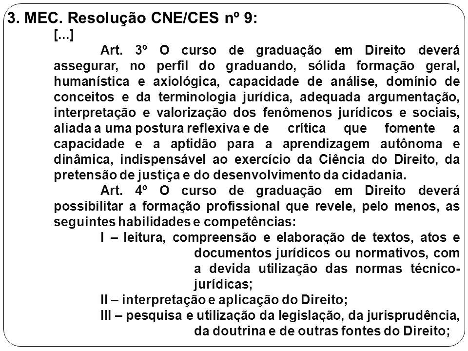 3. MEC. Resolução CNE/CES nº 9: [...] Art. 3º O curso de graduação em Direito deverá assegurar, no perfil do graduando, sólida formação geral, humanís