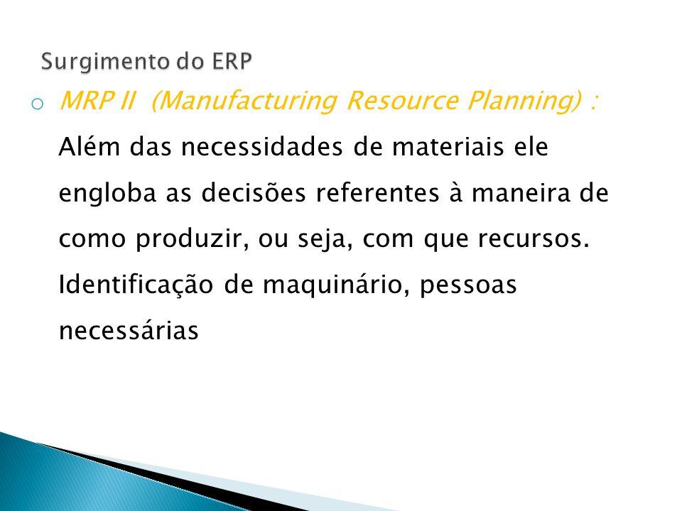 o MRP II (Manufacturing Resource Planning) : Além das necessidades de materiais ele engloba as decisões referentes à maneira de como produzir, ou seja, com que recursos.