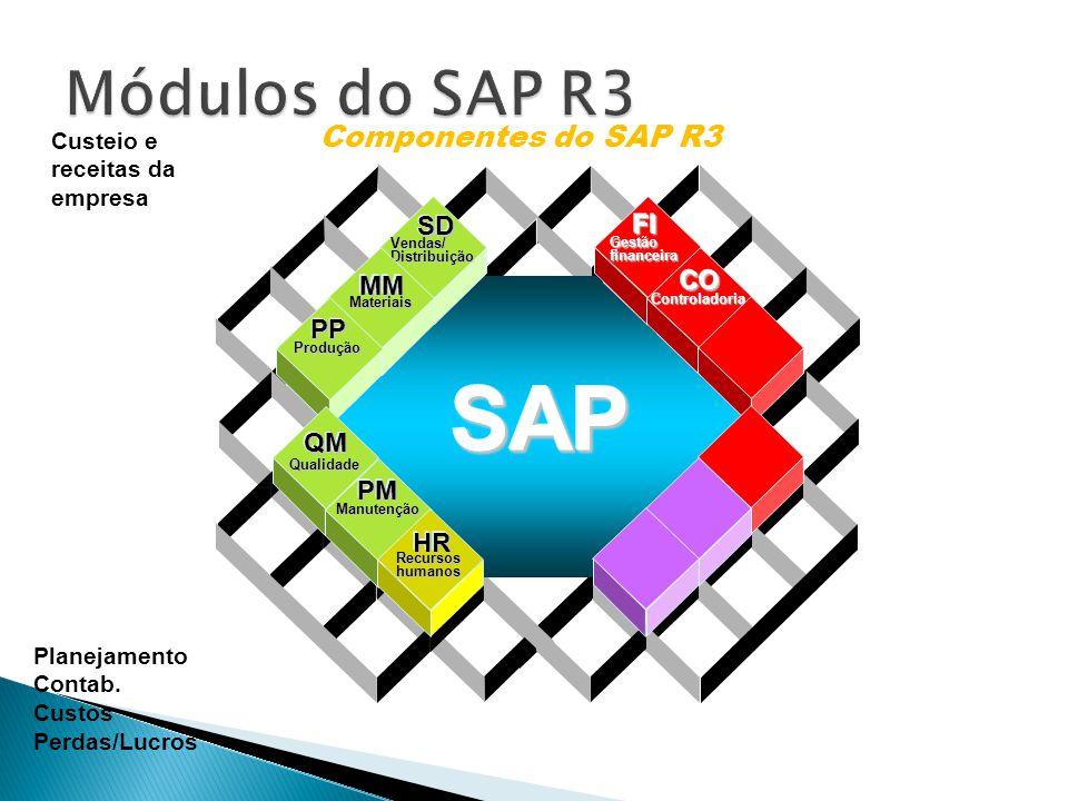 Data Warehousing BI Platform BI Suite User Componentes do SAP R3 Vendas/Distribuição SDSD Materiais MMMM Produção PPPP Gestãofinanceira FIFI Controladoria COCO Qualidade QMQM Manutenção PMPM Recursoshumanos HRHR SAPSAP Custeio e receitas da empresa Planejamento Contab.