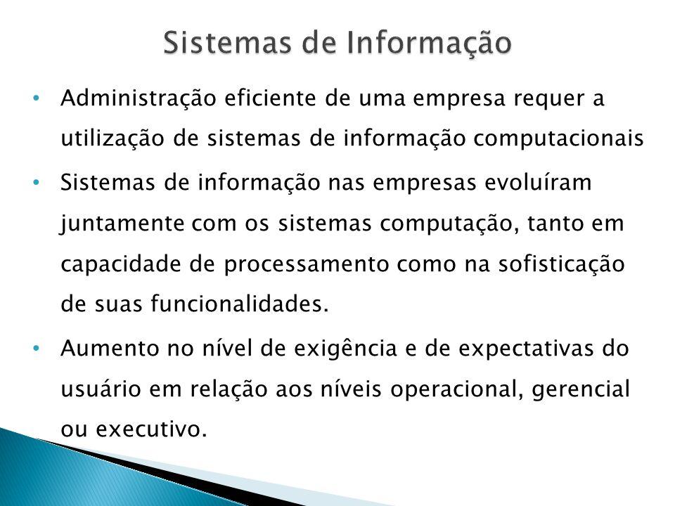 • Administração eficiente de uma empresa requer a utilização de sistemas de informação computacionais • Sistemas de informação nas empresas evoluíram juntamente com os sistemas computação, tanto em capacidade de processamento como na sofisticação de suas funcionalidades.