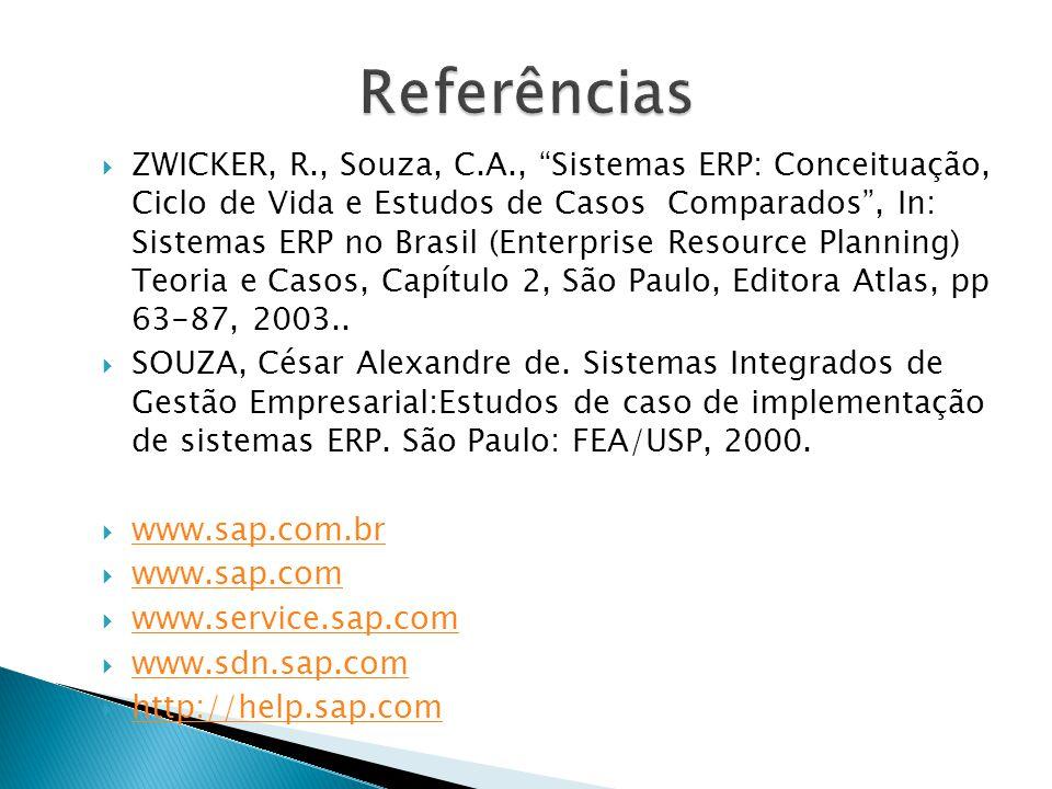  ZWICKER, R., Souza, C.A., Sistemas ERP: Conceituação, Ciclo de Vida e Estudos de Casos Comparados , In: Sistemas ERP no Brasil (Enterprise Resource Planning) Teoria e Casos, Capítulo 2, São Paulo, Editora Atlas, pp 63-87, 2003..