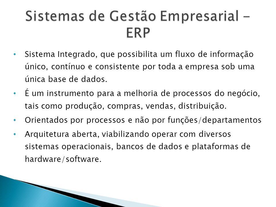 • Sistema Integrado, que possibilita um fluxo de informação único, contínuo e consistente por toda a empresa sob uma única base de dados.