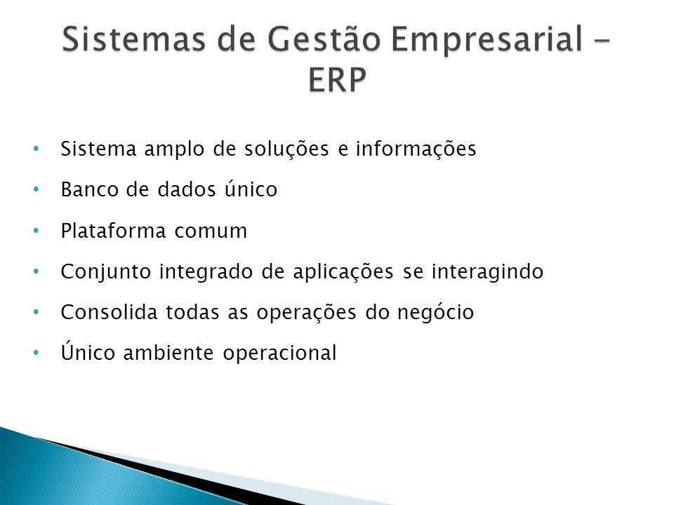 • Sistema amplo de soluções e informações • Banco de dados único • Plataforma comum • Conjunto integrado de aplicações se interagindo • Consolida todas as operações do negócio • Único ambiente operacional
