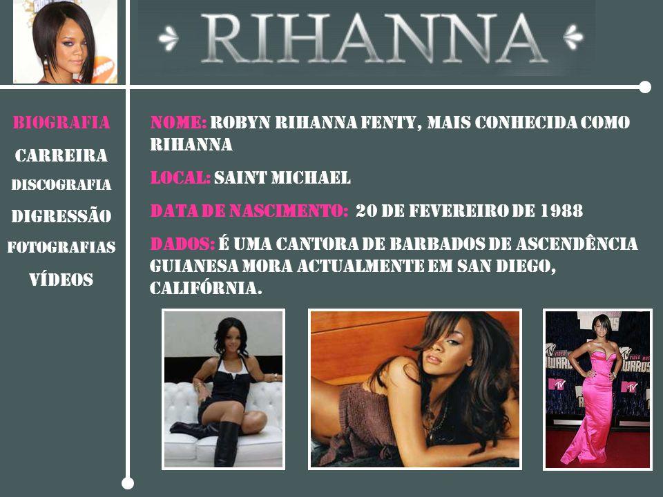 BIOGRAFIA CARREIRA DISCOGRAFIA Digressão Fotografias vídeos NOME: Robyn Rihanna Fenty, mais conhecida como Rihanna LOCAL: SAINT MICHAEL DATA DE NASCIM