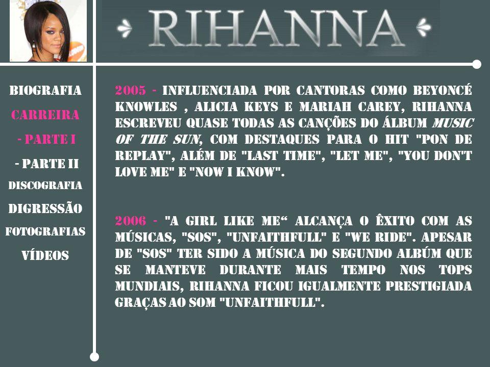 BIOGRAFIA CARREIRA - PARTE I - Parte II DISCOGRAFIA Digressão Fotografias vídeos 2005 - Influenciada por cantoras como Beyoncé Knowles, Alicia Keys e