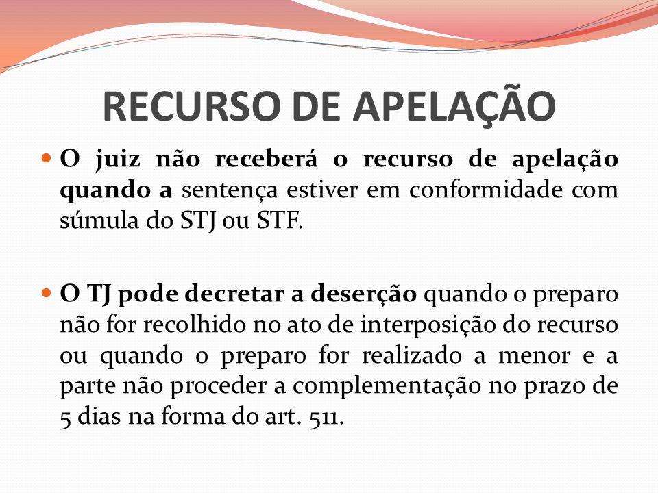RECURSO DE APELAÇÃO  O juiz não receberá o recurso de apelação quando a sentença estiver em conformidade com súmula do STJ ou STF.