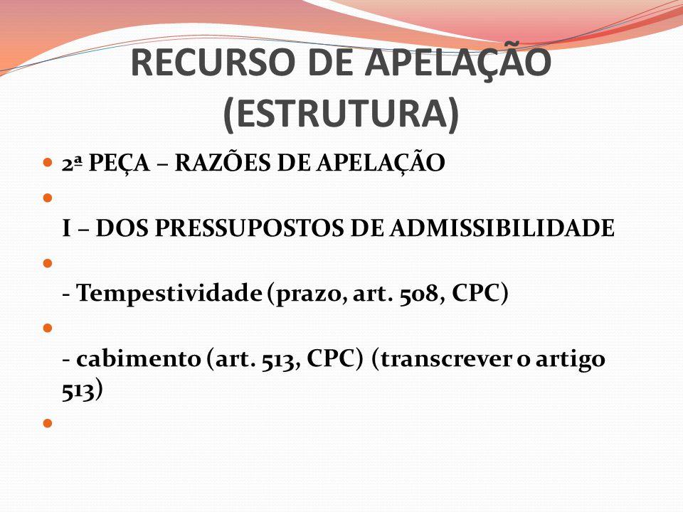 RECURSO DE APELAÇÃO (ESTRUTURA)  2ª PEÇA – RAZÕES DE APELAÇÃO  I – DOS PRESSUPOSTOS DE ADMISSIBILIDADE  - Tempestividade (prazo, art. 508, CPC)  -