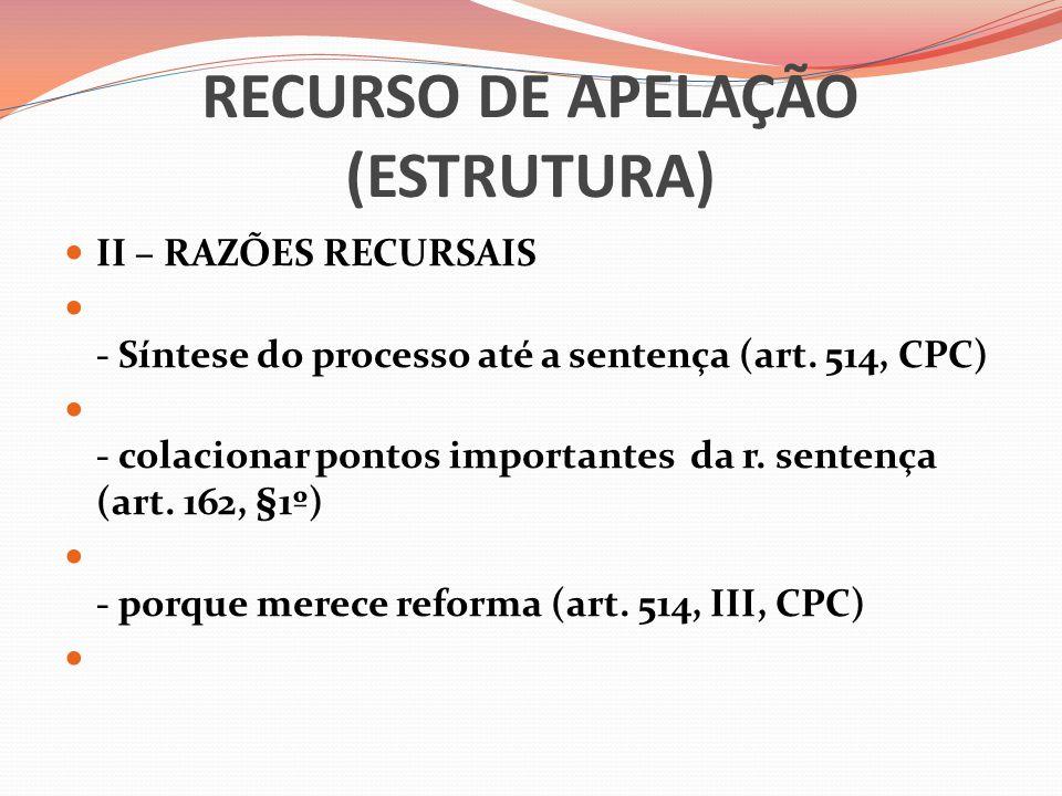 RECURSO DE APELAÇÃO (ESTRUTURA)  II – RAZÕES RECURSAIS  - Síntese do processo até a sentença (art. 514, CPC)  - colacionar pontos importantes da r.