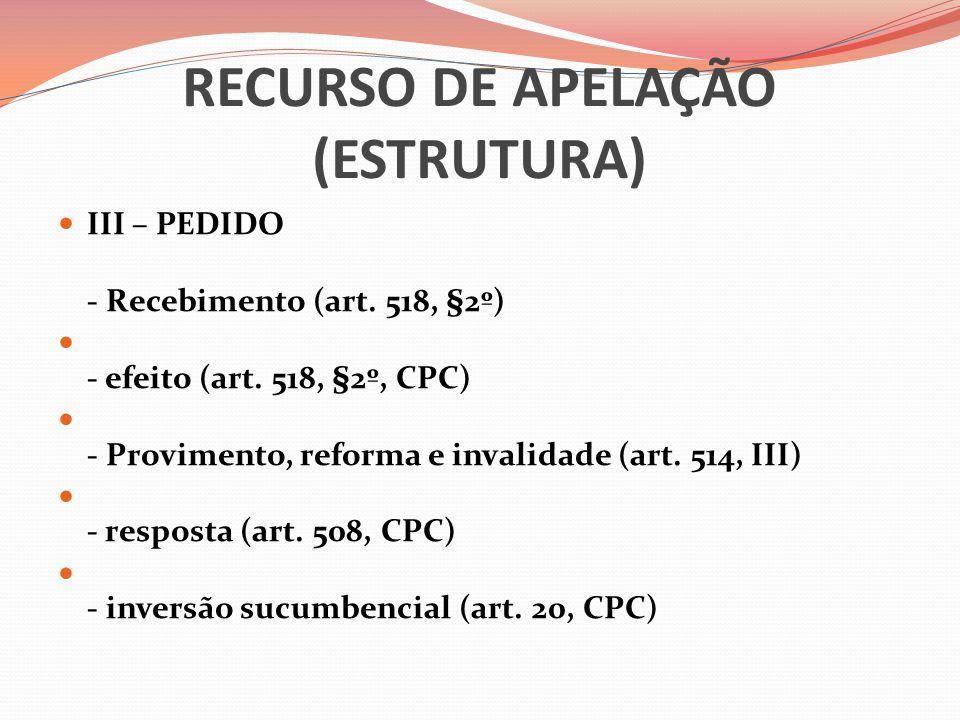 RECURSO DE APELAÇÃO (ESTRUTURA)  III – PEDIDO - Recebimento (art. 518, §2º)  - efeito (art. 518, §2º, CPC)  - Provimento, reforma e invalidade (art