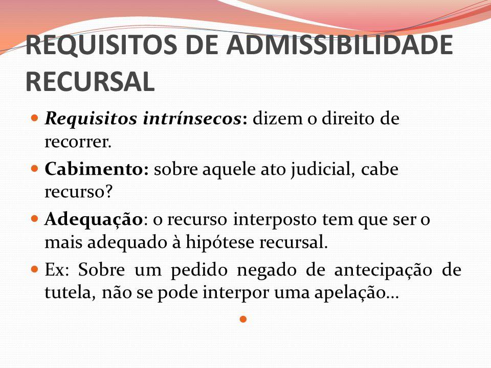 REQUISITOS DE ADMISSIBILIDADE RECURSAL  Requisitos intrínsecos: dizem o direito de recorrer.  Cabimento: sobre aquele ato judicial, cabe recurso? 