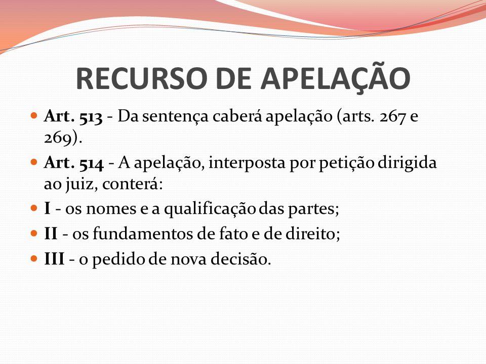RECURSO DE APELAÇÃO  Art. 513 - Da sentença caberá apelação (arts. 267 e 269).  Art. 514 - A apelação, interposta por petição dirigida ao juiz, cont