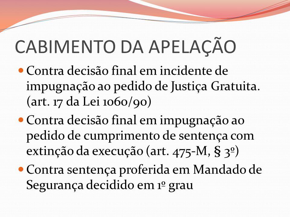 CABIMENTO DA APELAÇÃO  Contra decisão final em incidente de impugnação ao pedido de Justiça Gratuita.