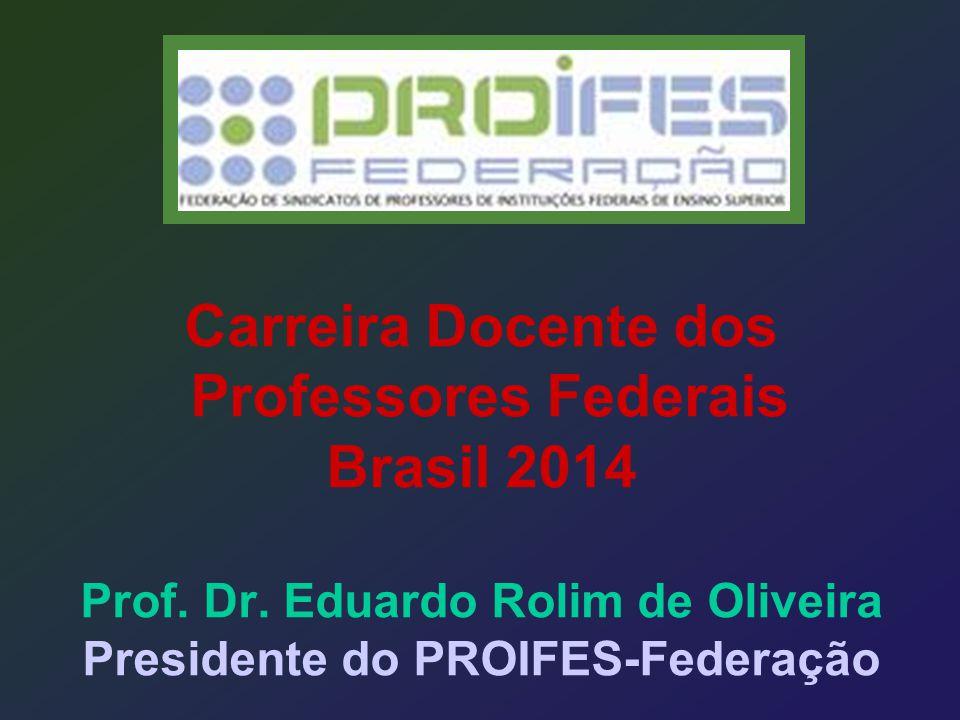 Carreira Docente dos Professores Federais Brasil 2014 Prof. Dr. Eduardo Rolim de Oliveira Presidente do PROIFES-Federação