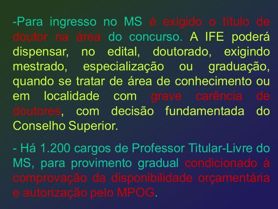 -Para ingresso no MS é exigido o título de doutor na área do concurso. A IFE poderá dispensar, no edital, doutorado, exigindo mestrado, especialização
