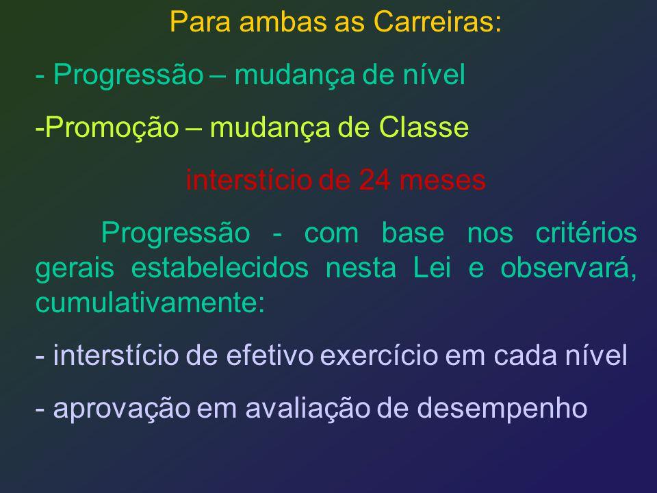 Para ambas as Carreiras: - Progressão – mudança de nível -Promoção – mudança de Classe interstício de 24 meses Progressão - com base nos critérios ger