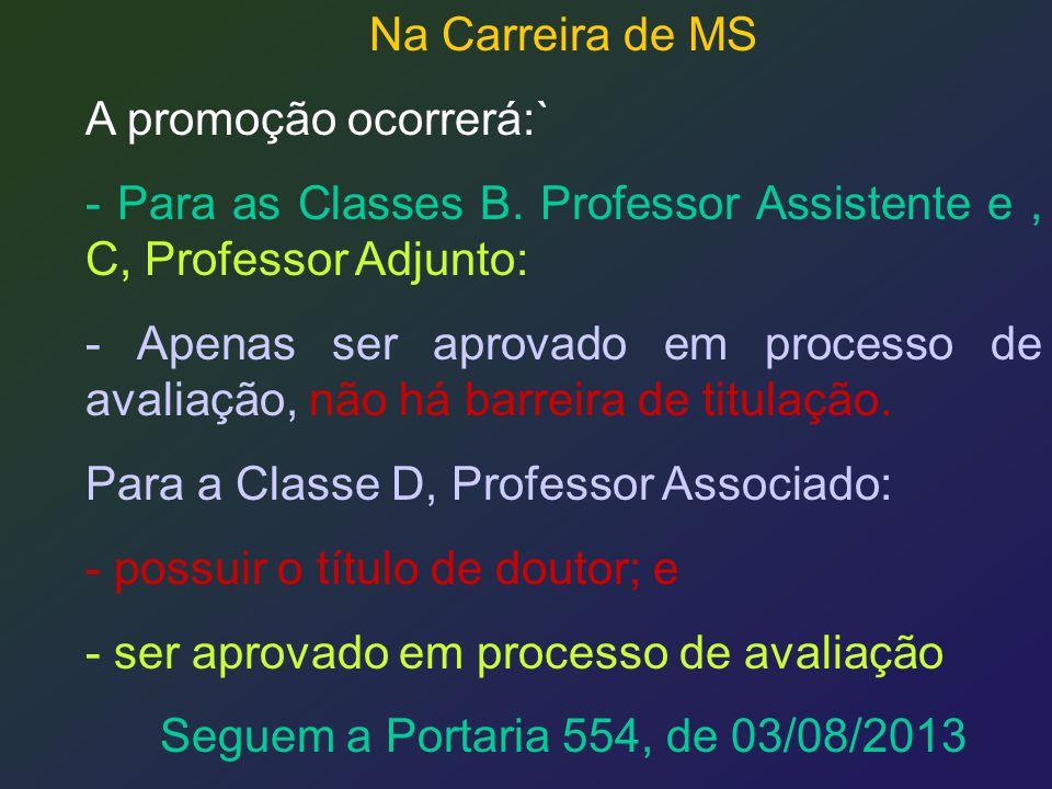 Na Carreira de MS A promoção ocorrerá:` - Para as Classes B. Professor Assistente e, C, Professor Adjunto: - Apenas ser aprovado em processo de avalia