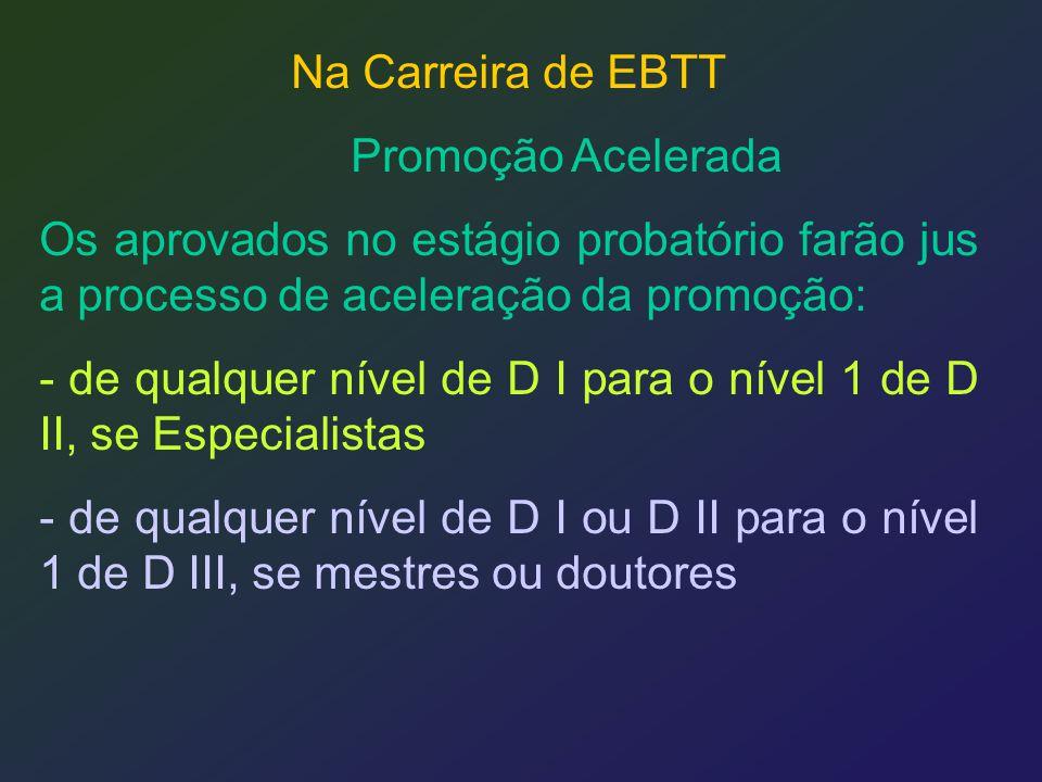 Na Carreira de EBTT Promoção Acelerada Os aprovados no estágio probatório farão jus a processo de aceleração da promoção: - de qualquer nível de D I p