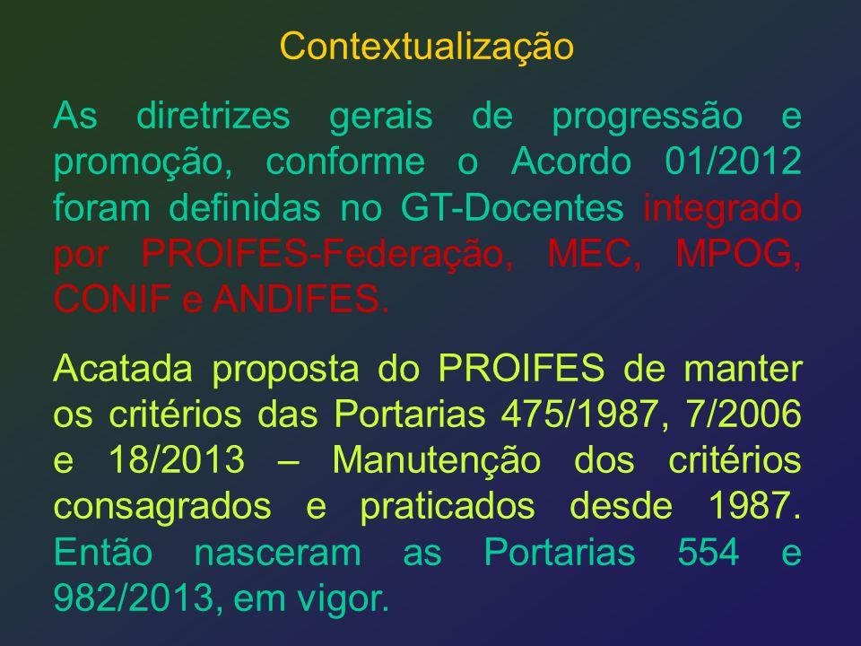 Contextualização As diretrizes gerais de progressão e promoção, conforme o Acordo 01/2012 foram definidas no GT-Docentes integrado por PROIFES-Federaç