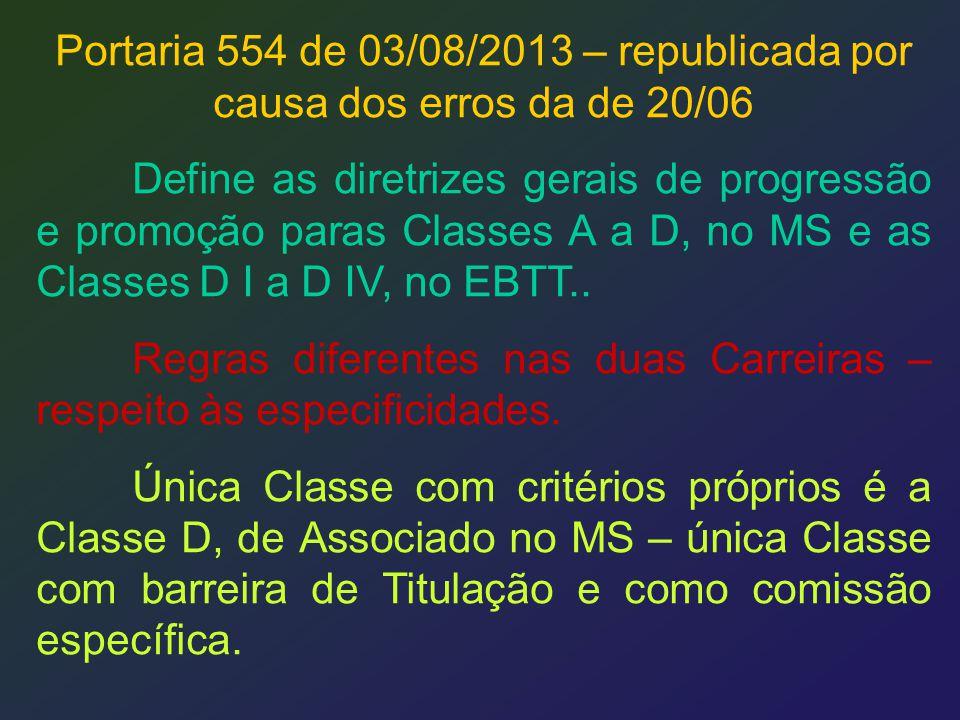 Portaria 554 de 03/08/2013 – republicada por causa dos erros da de 20/06 Define as diretrizes gerais de progressão e promoção paras Classes A a D, no