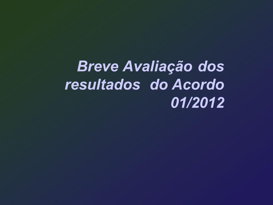 Breve Avaliação dos resultados do Acordo 01/2012