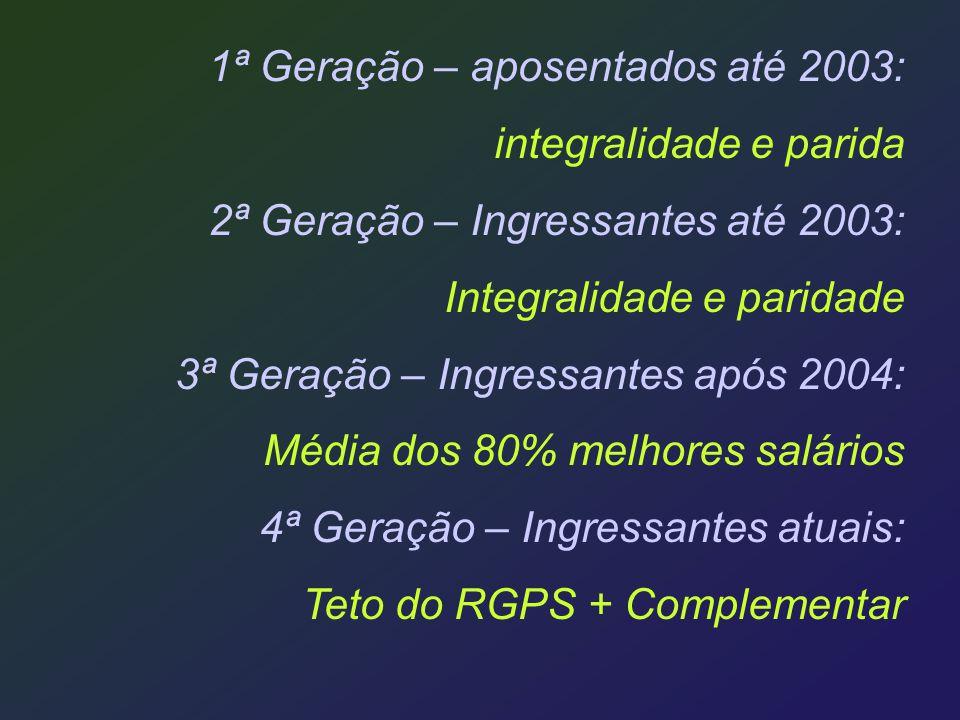 1ª Geração – aposentados até 2003: integralidade e parida 2ª Geração – Ingressantes até 2003: Integralidade e paridade 3ª Geração – Ingressantes após