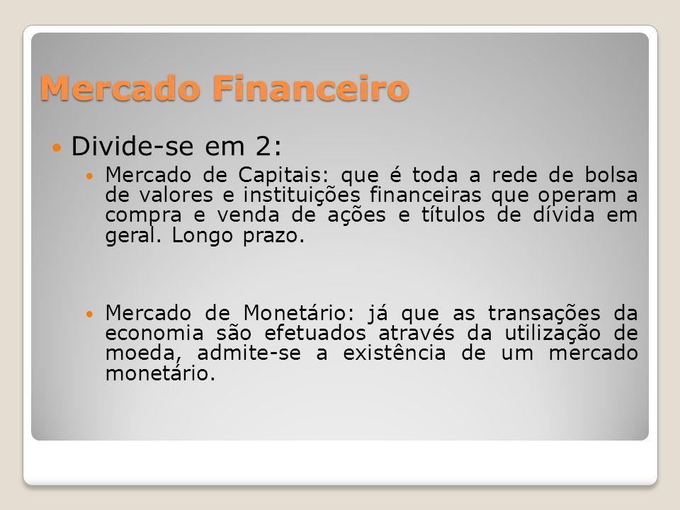 Mercado Financeiro  Divide-se em 2:  Mercado de Capitais: que é toda a rede de bolsa de valores e instituições financeiras que operam a compra e venda de ações e títulos de dívida em geral.