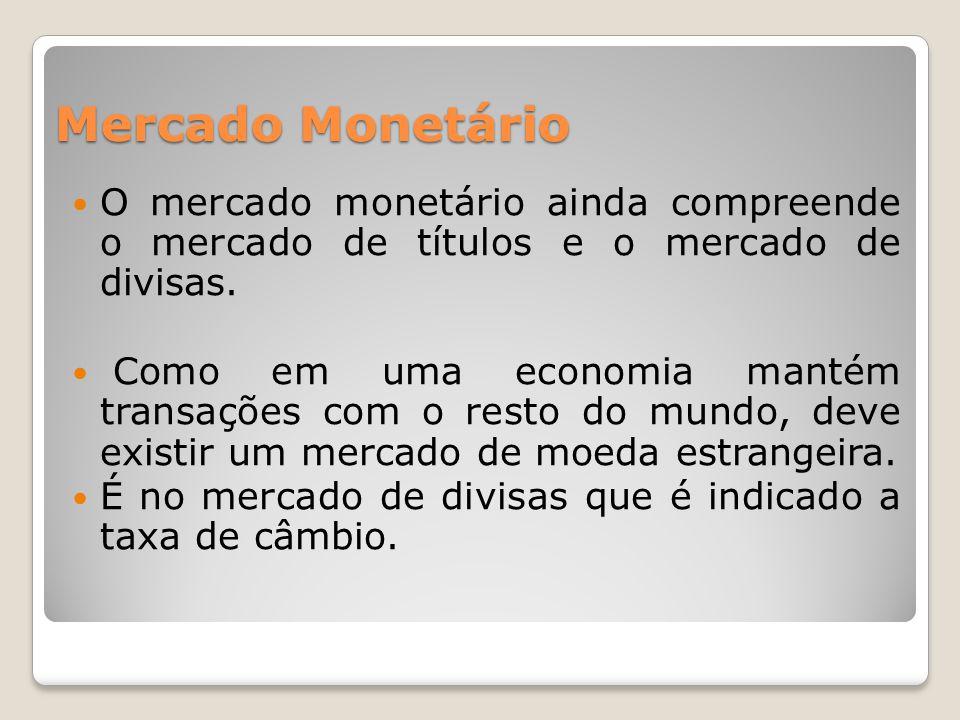 Mercado Monetário  O mercado monetário ainda compreende o mercado de títulos e o mercado de divisas.