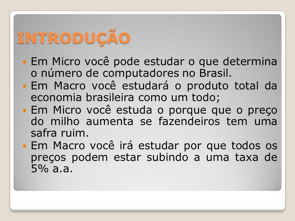 INTRODUÇÃO  Em Micro você pode estudar o que determina o número de computadores no Brasil.