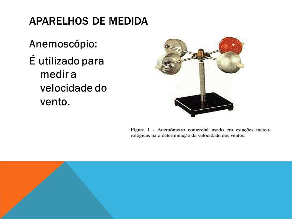 Anemoscópio: É utilizado para medir a velocidade do vento. APARELHOS DE MEDIDA