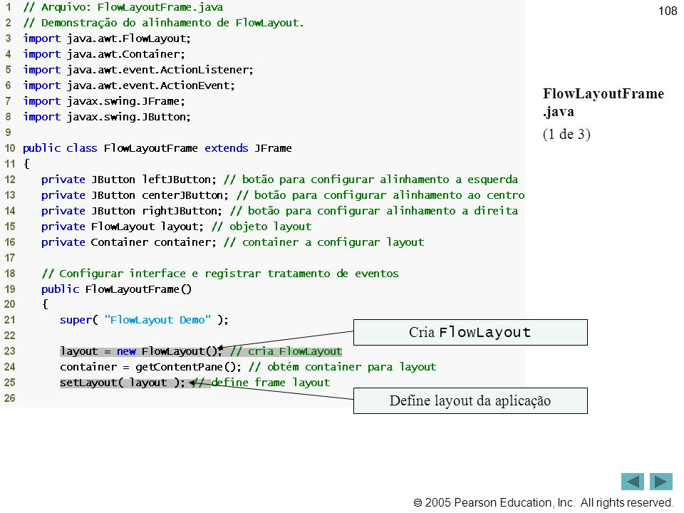  2005 Pearson Education, Inc. All rights reserved. 108 Outline FlowLayoutFrame.java (1 de 3) Cria FlowLayout Define layout da aplicação