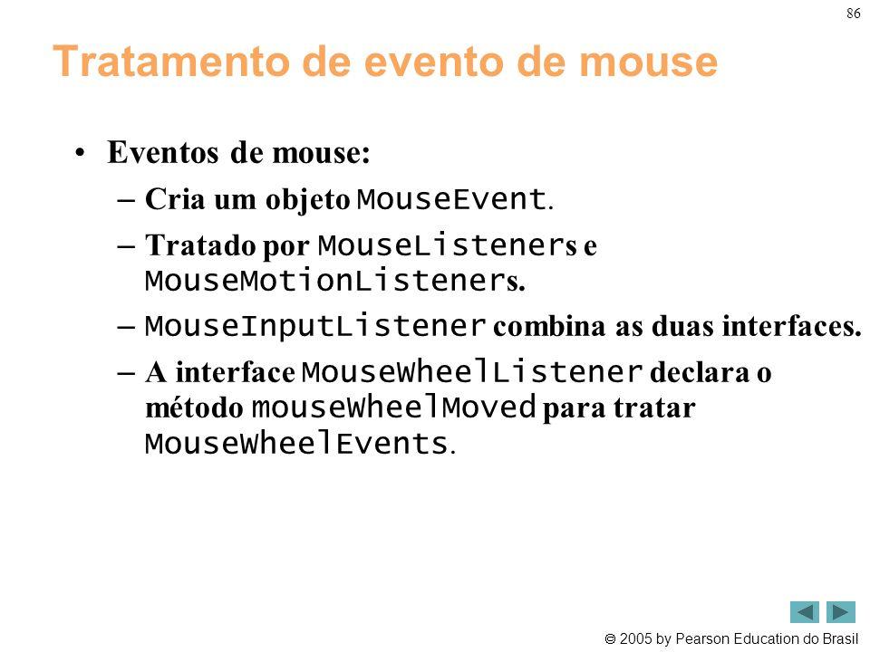  2005 by Pearson Education do Brasil 86 Tratamento de evento de mouse •Eventos de mouse: – Cria um objeto MouseEvent. – Tratado por MouseListener s e