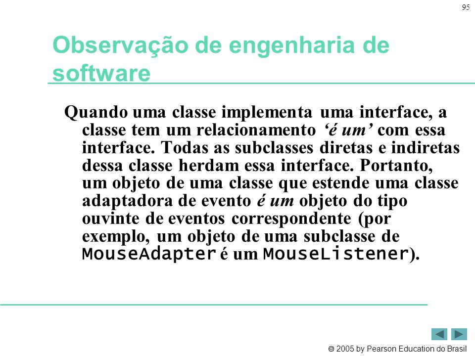  2005 by Pearson Education do Brasil 95 Observação de engenharia de software Quando uma classe implementa uma interface, a classe tem um relacionamen