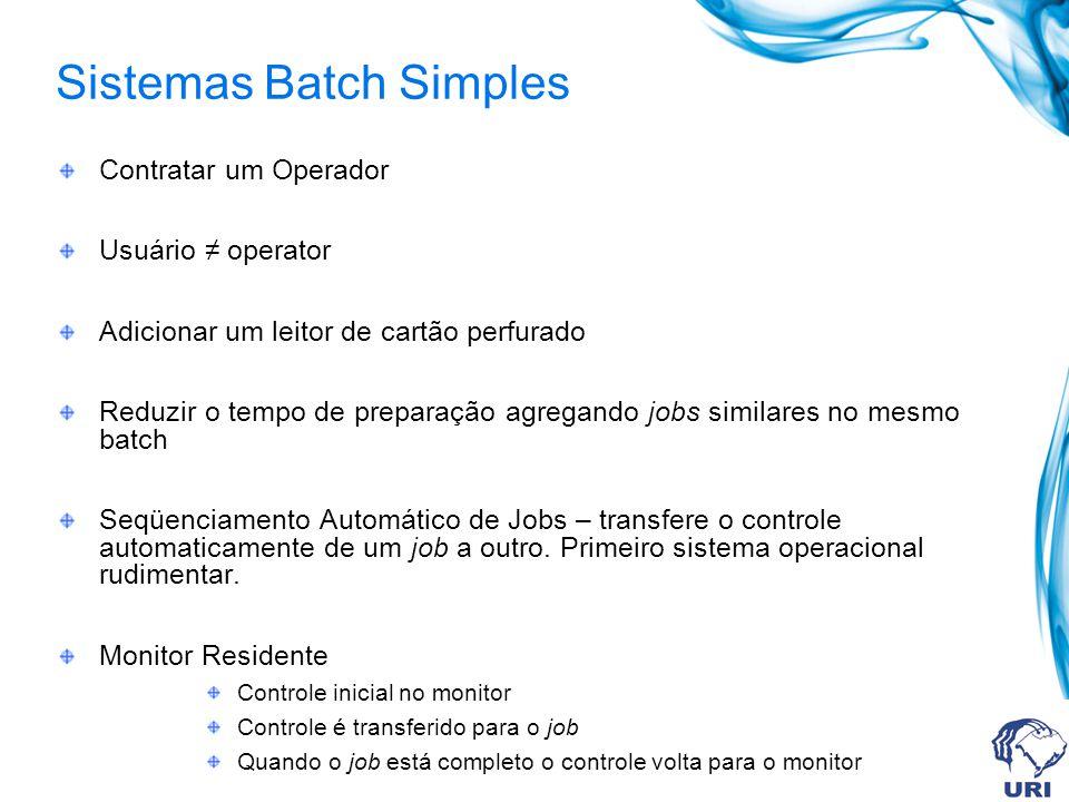 Contratar um Operador Usuário ≠ operator Adicionar um leitor de cartão perfurado Reduzir o tempo de preparação agregando jobs similares no mesmo batch