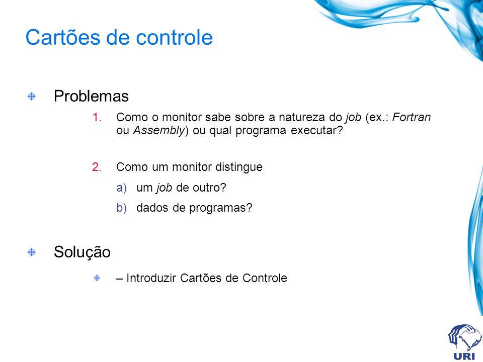 Problemas 1.Como o monitor sabe sobre a natureza do job (ex.: Fortran ou Assembly) ou qual programa executar? 2.Como um monitor distingue a)um job de