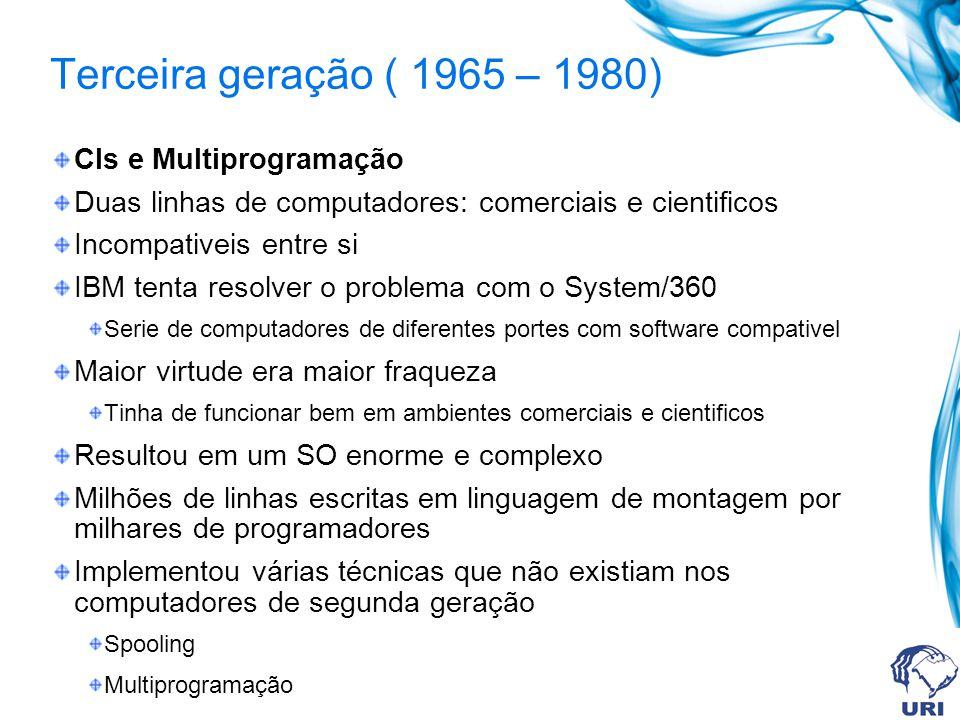 Terceira geração ( 1965 – 1980) CIs e Multiprogramação Duas linhas de computadores: comerciais e cientificos Incompativeis entre si IBM tenta resolver